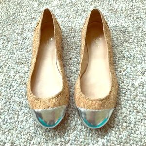 Kate Spade cork and silver flats